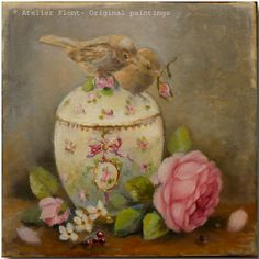 Two birds with rose & Sevres sugar bowl  - Original- oil  painting  Helen Flont. via Etsy.