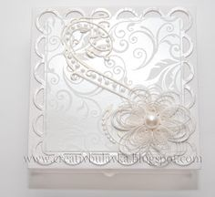 Beautiful white, quilled wedding box - by:  Oksana - from Voronezh
