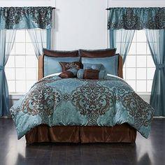 Highgate Manor Ritz Comforter Set - Blue Queen New Blue Comforter Sets, Bedding Sets, Brown Bedding, Master Bedroom, Bedroom Decor, Bedroom Ideas, Dream Furniture, House Beds, Furniture Arrangement