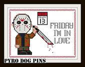 Friday I'm In Love Pattern/PDF - 'Friday the 13th'  Cross Stitch Pattern -  INSTANT DOWNLOAD