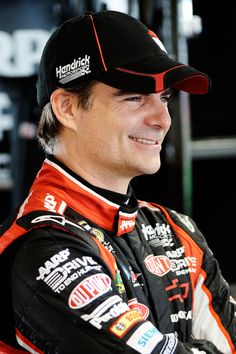 Jeff Gordon, driver of the #24 Drive to End Hunger Chevrolet, stands in the garage area during practice for the NASCAR Sprint Cup Series Goody's Fast Relief 500 at Martinsville Speedway on March 30, 2012 in Martinsville, Virginia.