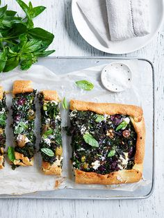 Kale, olive and goat's cheese tart – perfect for lunch or served as an entrée.  www.hydroproduce.com.au