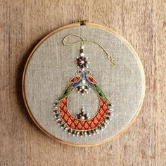 """Hoop art, Indian Jewellery, machine embroidery, linen with colors, Indian, wall art, size 10"""""""