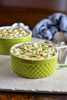 Smashed Cauliflower Gratin with Goat Cheese | Virtually Homemade #cauliflower #gratin #goatcheese