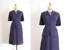 vintage 1940s dress // 40s navy peplum day dress by TrunkofDresses, $98.00
