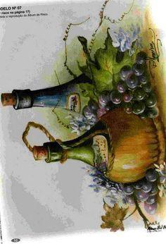 PINTURA SOBRE TELA: modelos y moldes « Variasmanualidades's Blog Arte Pallet, Pallet Art, Fruit Painting, Fabric Painting, Arte Country, Wine Art, Fruit Art, Painting Techniques, Art Pictures