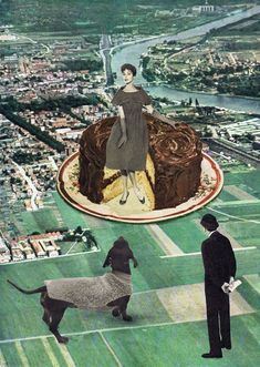 I came across these retro collages and was very drawn to the humor in them, along with the vintage imagery, color combo and pertinent social commentary all by Belgium artist Sammy Slabbinck.