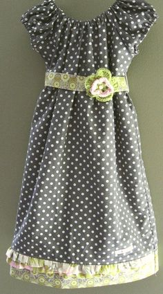 Girls Spring  Dress, Charcoal Gray, Etsy.