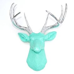 Faux Deer Head Wall Mount // Aqua with Chrome Antlers
