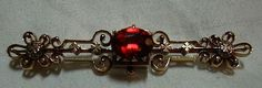 Antique 14K Gold Bar Pin Victorian Fine Jewelry Red Stone