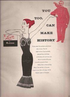 Vintage Kayser Lingerie Black Petticoat Slip Ad 1956