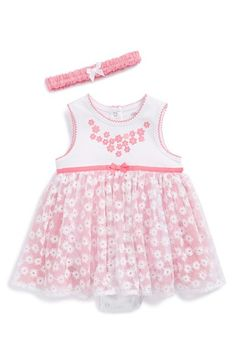 Little Me Floral Tulle Dress & Headband (Baby Girls) | Nordstrom