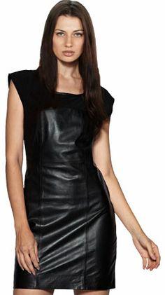 Jersey interlaced clubwear leather dress for women