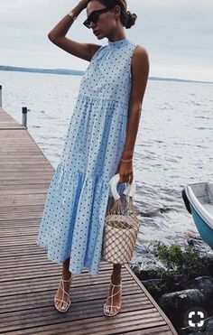 Women Polka Dot Summer Casual Loose Bohemian Maxi Dress Boho Beach Dresses Vintage Vestidos Size S Color Blue Fashion Over 40, Look Fashion, Womens Fashion, Fashion Spring, Fashion Design, Halter Neck Maxi Dress, Vetement Fashion, Maxi Robes, Summer Outfits