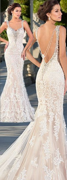 Stunning Tulle V-neck Neckline Mermaid Wedding Dresses with Lace Appliques