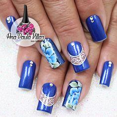 Unhas Decoradas com Flores One Stroke Azul (Ana Paula Villar)