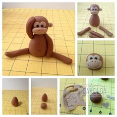 Tutorial: Monkey (Polymer Clay - Fimo - Cernit) https://www.facebook.com/MondoDiSisina https://www.etsy.com/it/shop/MondoSisina