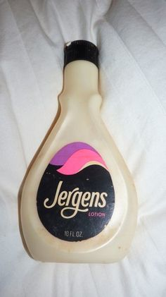 "Jergens Lotion1970's, bottle always set on the ""space saver"" behind the toilet in our bathroom"