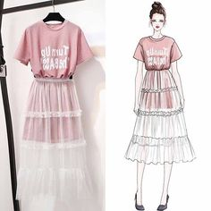 Fashion Drawing Dresses, Fashion Illustration Dresses, Fashion Dresses, Dress Design Sketches, Fashion Design Sketches, Cute Fashion, Asian Fashion, Pretty Outfits, Stylish Outfits