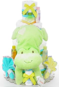 Musical Frog Diaper Cake Gift Cake, Gift Certificates, Gift Wrapping, Wrapping Ideas, Amazing Cakes, Cute Babies, Diaper Cakes, Musicals, Dinosaur Stuffed Animal