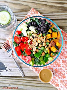 Loaded Veggie Kale Salad with Almond Butter Dressing  |  Love.Bake.Read