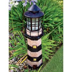 Solar Lighthouse Garden Decoration, 35in.H — Green/Ivory | www.kotulas.com | Free Shipping