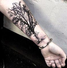 Wrist Tree Tattoo, Half Sleeve Flower Tattoo, Tree Sleeve Tattoo, Tree Tattoo Men, Tree Tattoo Designs, Best Sleeve Tattoos, Top Tattoos, Badass Tattoos, Life Tree Tattoo