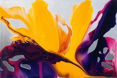 "Yellow Lilly Fluid acrylic on canvas 72""x48"" www.cristinazorrillaspeer.com"