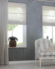 Linen curtains Both the long spaces and the Roman blinds are made of . Living Room Windows, Home Living Room, Living Room Decor, Modern Window Treatments, Roman Blinds, Blinds Curtains, Condo Decorating, Design Your Home, Grey Walls