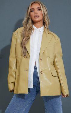Olive Premium Faux Leather Pocket Detail Blazer | PrettyLittleThing