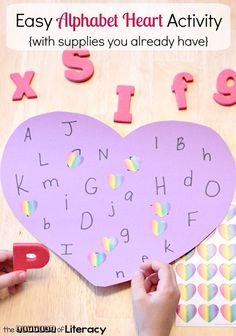 Put together this easy Valentine alphabet heart activity. You can create this simple ABC center with supplies you already have on hand.#valentinesday #alphabet #centers #preschool #kindergarten #teachersfollowteachers