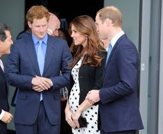 Princes Harry and William, and Catherine Duchess of Cambridge, aka Kate Middleton, visiting the Warner Brothers Studios Leavesden. She is wearing a polka dot dress from Topshop, Ralph Lauren jacket, and Episode 'Angel' pumps. 04/26/13