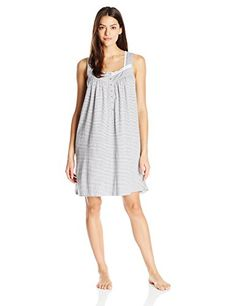 Eileen West Womens Cotton Stripe Short Nightgown Heather Strip Small * Check this awesome product by going to the link at the image. (This is an affiliate link and I receive a commission for the sales)