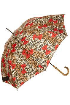 Topshop: Leopard Bow Walker Umbrella