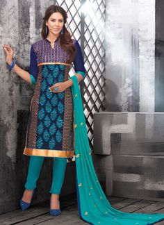 Add richer looks to your persona in this blue chanderi cotton churidar designer suit. The embroidered and lace work looks chic and perfect for party and casual. Comes with matching bottom and dupatta....