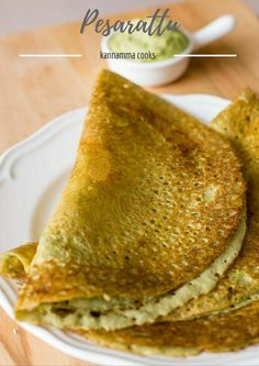 Pesarattu Recipe, Pesarattu Dosa, Green Moong Dal Dosa / Crepe Recipe made with moong dal and rice. With step by step pictures.