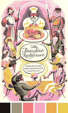 Menu card for The Beaufort Restaurant at the Great Eastern Hotel in Liverpool, 1955. #retro #color