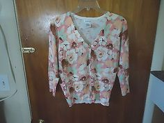 Womens George Size M ( 8 / 10 ) Multi Color Floral 3/4 Sleeve Button Down Top #womensclothing #clothing