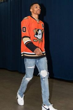 new style 91769 80293 Russell Westbrook Wears Anaheim Ducks Jersey, Fear of God Jeans And Nike  Sneakers For Round 2 Game 4 Of Thunder VS Spurs Series