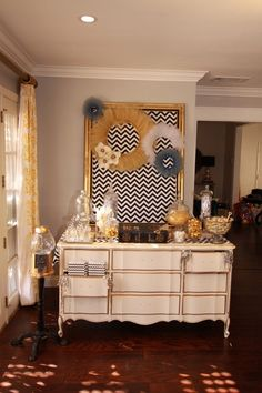 Black and Gold Chevron Candy Table Backdrop Candy Table, Candy Buffet, Dessert Table Backdrop, Recycle Your Wedding, Baby Shower Backdrop, Gold Chevron, Dessert Bars, Cribs, Entryway Tables