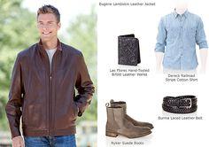 Men's Eugene Lambskin Leather Jacket by Overland Sheepskin Co. (style 29324)