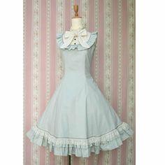 Petite - Plus Size Women Mint Sleeveless A Line Gothic Lolita Dress SKU-11402534