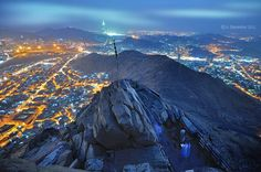 Peak of Jabal an-Nour (home of the Hira Cave) with view of al-Masjid al-Haram