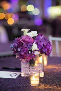 Beautiful Purple & White Centerpiece | Kristen Weaver Photography