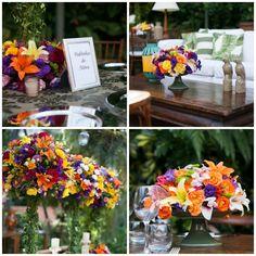 Decoração com flores coloridas para casamento