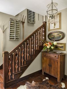 Christopher Vazquez and Rick DAvis of Amaryllis Floral and Event Design in Maryland decorated a saltbox home in Maryland with rustic farmhouse style. This Old House, Brick Style Tiles, Stairs Trim, Sage Green Walls, Staircase Remodel, Country Living Magazine, Painted Stairs, Staircase Design, Staircase Ideas