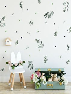 Olive Branch Watercolor Wall Decal, Removable Botanical Wallpaper by Little1Story