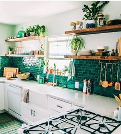 Green Brick Road Tiles || Kitchen