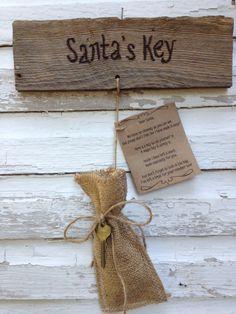 Santa Sign/Christmas Decor/ Santa's Key and by DesignsInGrain, $15.00