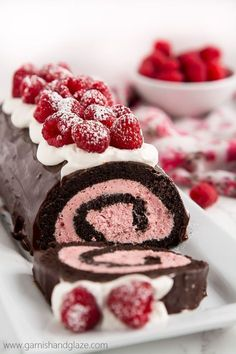 An easy to make chocolate swiss roll with a raspberry filling. This the perfect Valentine's day dessert or for any time you need a beautiful sweet treat. (chocolate filling for cake) Cake Roll Recipes, Dessert Recipes, Food Cakes, Cupcake Cakes, Chocolate Desserts, Raspberry Chocolate, Chocolate Ganache, Chocolate Roll Cake, Chocolate Chips